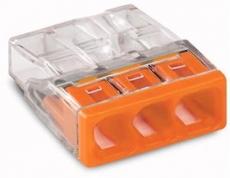WAGO Verbindungsdosenklemme 3polig Compact 0,5-2,5qmm transp./orange