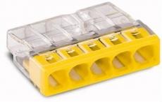 WAGO Verbindungsdosenklemme 5polig Compact 0,5-2,5qmm transp./gelb